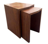 Mid Century Style Walnut Nesting Side Tables - a Pair