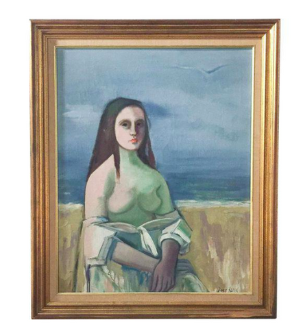 Sitting Woman By The Sea Original Painting by Doris Klein