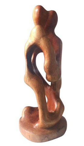Mid-Century Wood Sculpture of a Couple