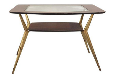 Mid-Century Rosewood & Glass Top Brass Side Table