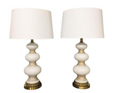 Mid-Century Glass Orb Table Lamps - A Pair