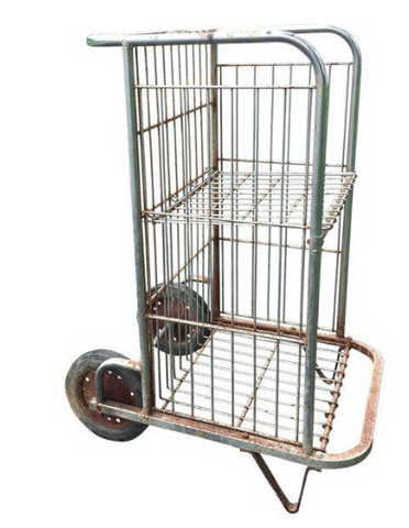 Mid Century Industrial Chrome Cart, Storage, Display Piece