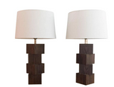 Mid-Century Rosewood Stacked Cube Lamps - A Pair