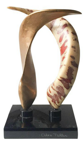 Mid Century Listed Artist Alex Taller - Double Horn Sculpture