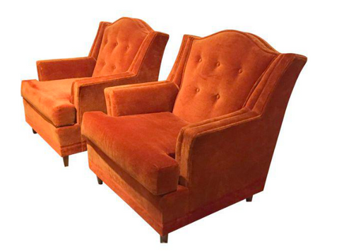 Mid Century Burnt Orange Velvet Wingback Club Chairs - A Pair