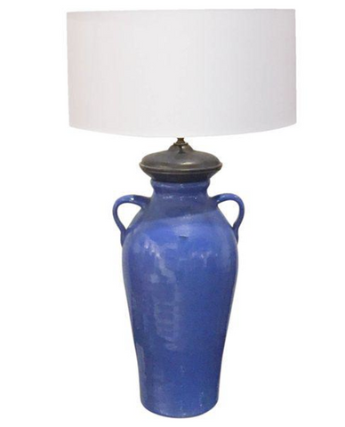 Antique Blue Pottery Lamp