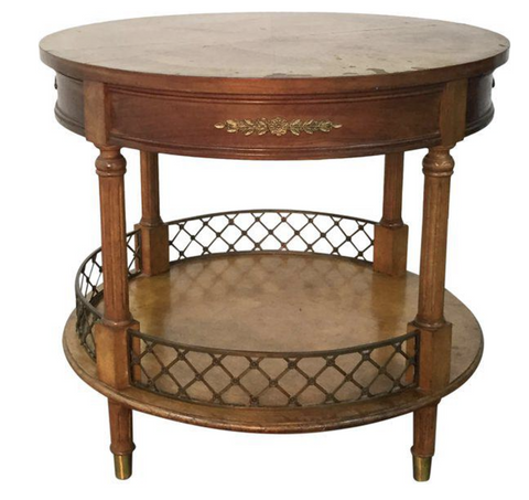 Vintage French Style Bouillotte, Gueridon Round Table