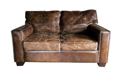 Vintage Brown Leather Loveseat with Nail Heads