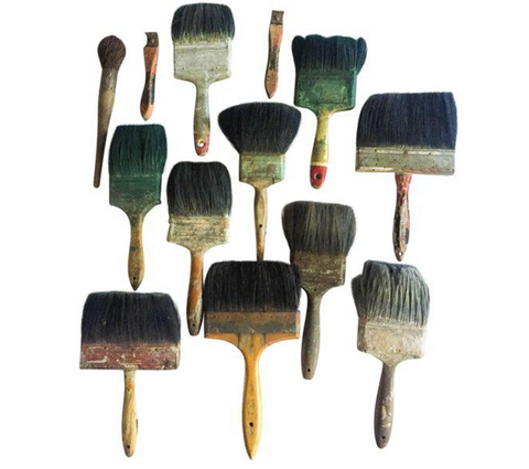 Vintage 1920's-1930's Folk Art Paint Brushes - Set of 13