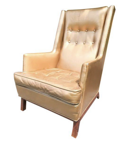 Mid Century Shiny Gold Lounge Chair
