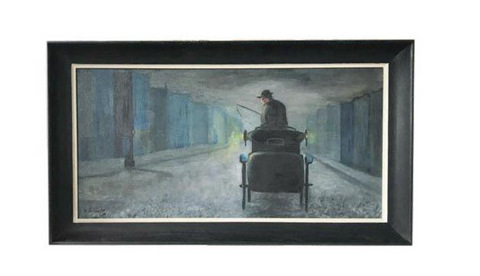 1962 Evening City Scape in a Carriage Oil on Canvas Painting by D Schwartz