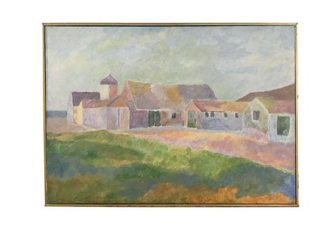 "Rowe-Libin ""Farm"" Mid-Century Landscape on Canvas"