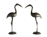 Pair, Large Mid Century Brass Heron Statues