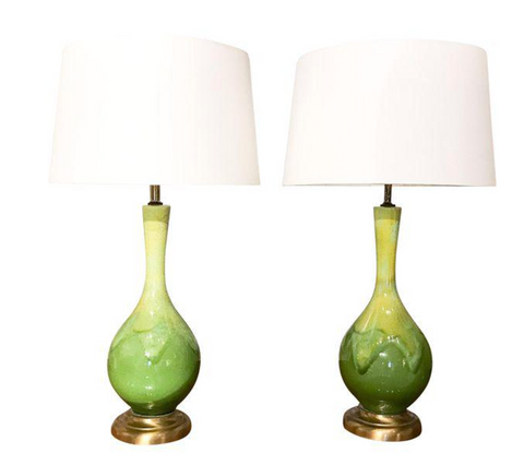 Mid-Century Green Glazed Lamps - a Pair