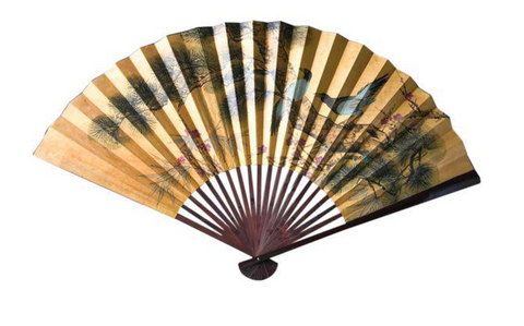 "Large 50"" W Vintage Hand Painted Asian Paper Fan"