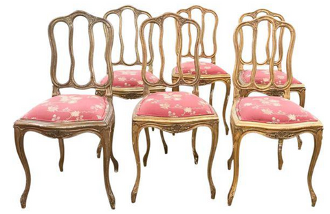 Set of 6 French Style Scroll Splat Wood Dining Chairs in Gold