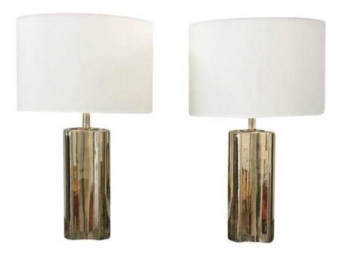 Mid-Century Contoured Cylinder Brass Lamps - A Pair