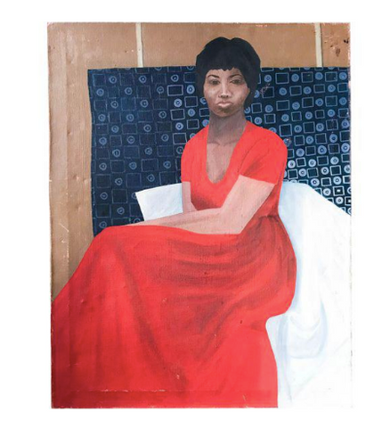 Mid Century Painting - Lady In Red