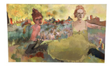 "Large Vintage 60"" Painting on Canvas - Colorful Dancers"