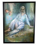 Vintage Painting - Lady in Blue, Signed Pollinger