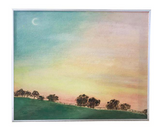 Vintage Painting on Canvas, Field and Moon