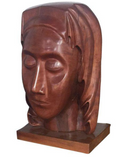 Mid Century Wood Sculpture - Woman