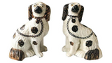 Pair, Antique Staffordshire Style Kind Charles Spaniel Dogs