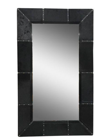 Large Black Pony Hide Mirror with Nail Heads