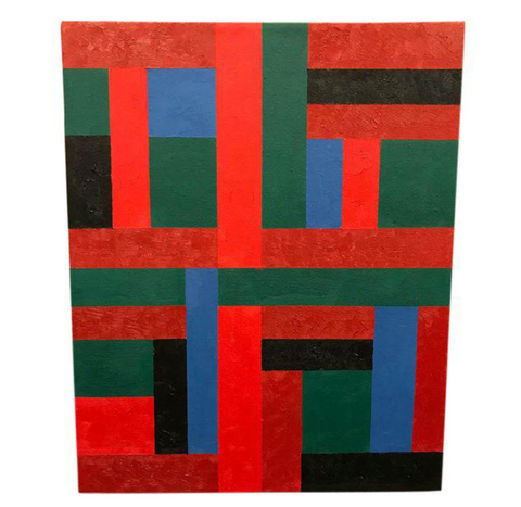 Listed Artist Adam Kubach Geometric Abstraction Painting