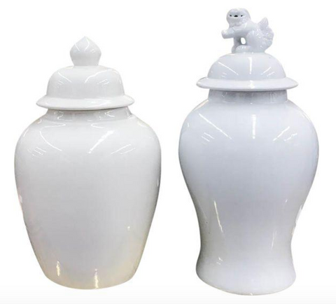 Pair, Vintage White Ginger Jars