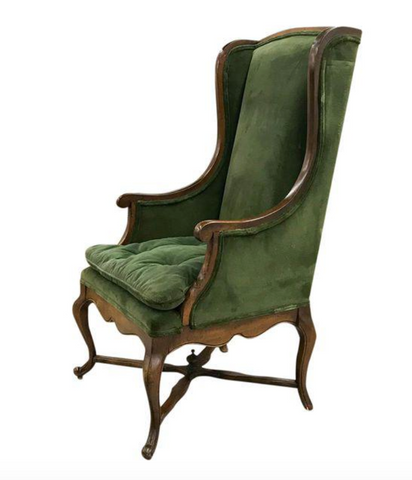 Mid Century Wingback Chair in Green Velvet