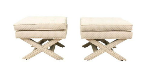 Billy Baldwin Style X Base Stools - a Pair