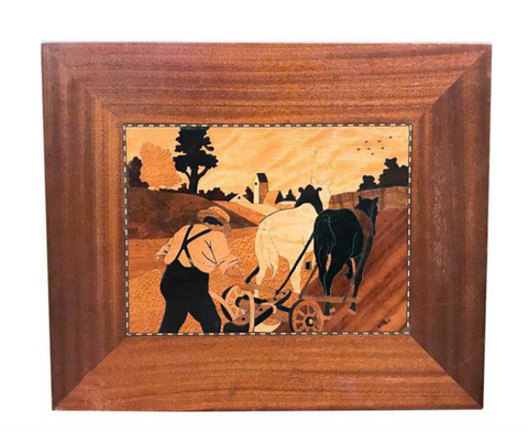 Mid Century Wood Marquetry Plaque - Farmer and Plow, Signed