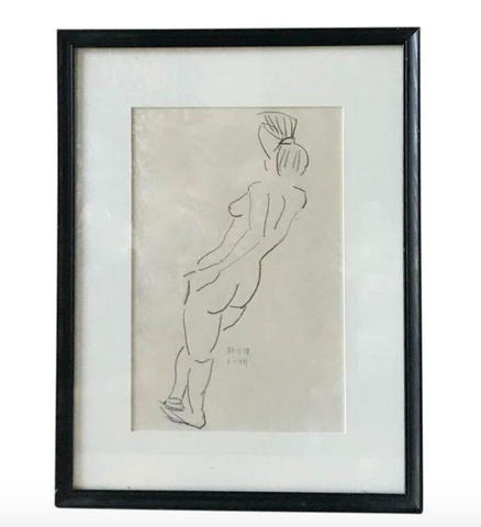 Vintage Nude Drawing, Signed