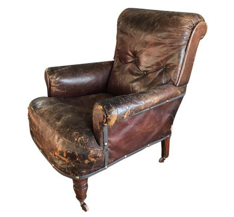 Old, Distressed Leather Club Chair