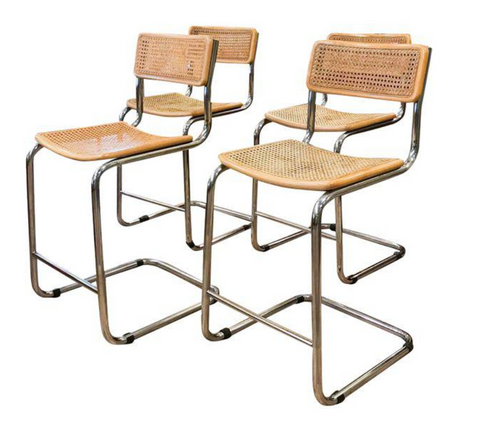 Vintage Marcel Breuer Caned Chrome Counter Stools - Set of 4
