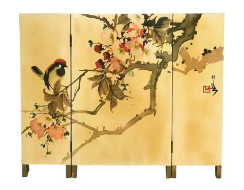 Mid Century Yellow Lacquered Asian Screen