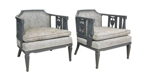 Pair, Mid Century Gray Painted Chairs - Carved Urns