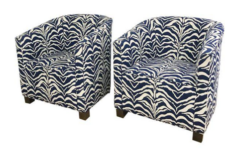 Navy Zebra Print Club Chairs - A Pair