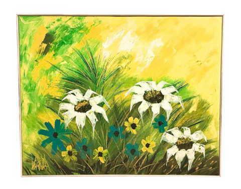 Large Mid Century Painting - Lee Reynolds - Daisies