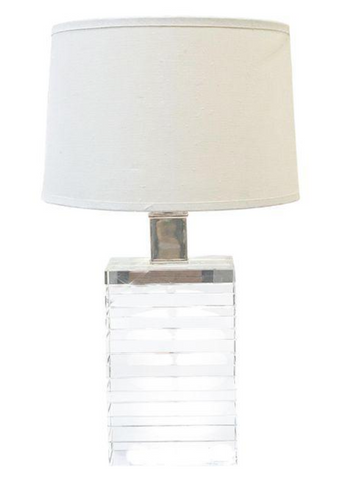 Rectangular Clear Glass Table Lamp