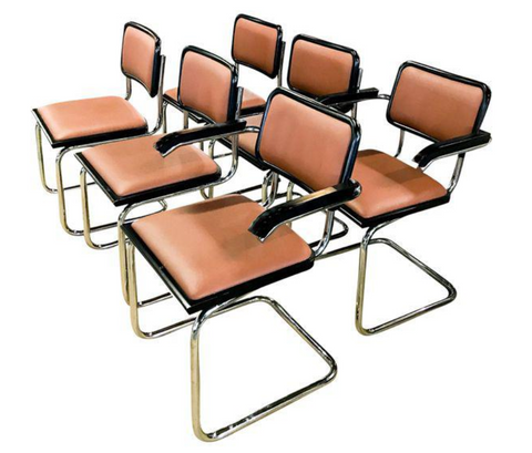 Set of 6 Knoll Marcel Breuer Cesca Dining Chairs - 2 Arms, 4 Sides