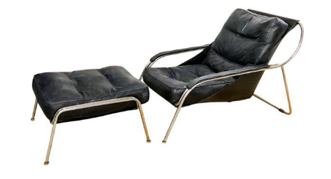 Mid Century Italian Chrome and Leather Chair and Ottoman