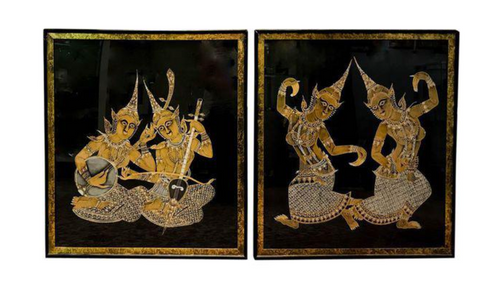 Pair, Mid Century Black Silk, Hand Painted Thai Art