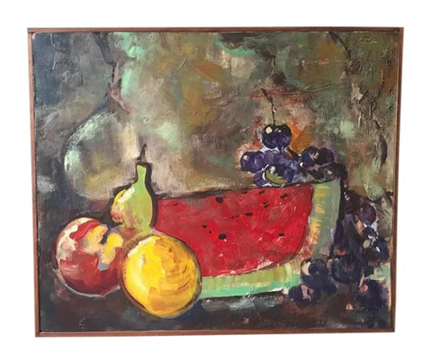"Mid Century Still Life Painting - 1968 ""Fruit"" by T Wolfe"