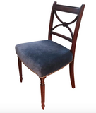 Antique Occasional Chair in Blue Velvet