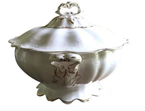 Antique C 1910 e.p.p China Tureen, Signed