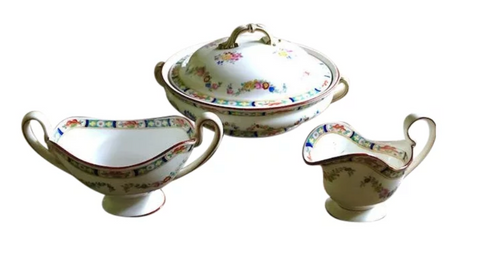 Antique English Mintons China - Tureen, Sugar, and Creamer