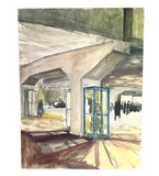 Mid Century Painting - Train Station Wait
