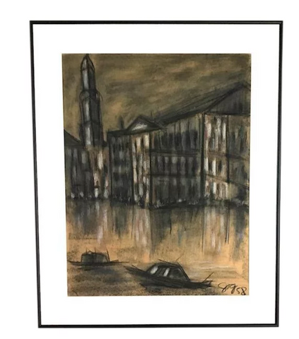 Mid Century Charcoal City Scape, Boats and a City - 1958